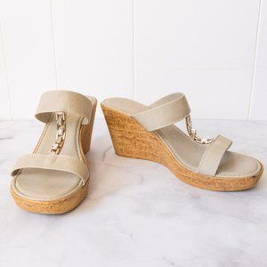 Italian Shoemakers Wedge Mules with Jewelry Detail